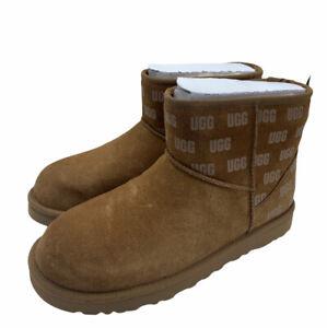 UGG Classic Mini II Print Chestnut Fur Suede Sheepskin Ankle Boots