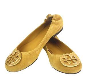 NEW Tory Burch Reva Ballet Flat Shoe Mustard Yellow Split Suede-Enamel Sz 6