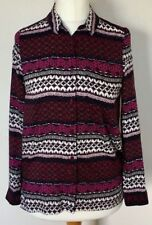 H&M Divided Ladies Purple & White Blouse Shirt Top Size 6 Euro 32, Long Sleeve