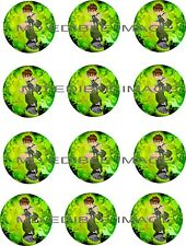 """Ben 10 Edible Rice paper Image Cupcake Toppers 12 x 2"""" Birthday Party"""