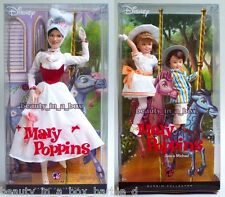 Mary Poppins Jane & Michael Barbie Doll Collector Disney Lot 2 ""
