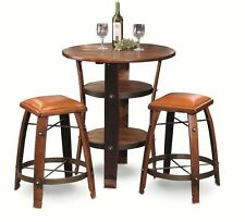 New Authentic Real Wine Barrel Full Stave Bistro Table Complete Set 2 Stools