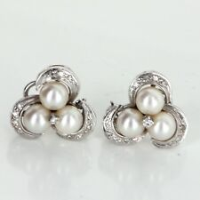 Cultured Pearl Diamond Clip Cocktail Cluster Earrings Vintage 14k White Gold