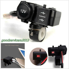 DC12/24V Motorcycle ATV Cigarette Lighter Socket 2USB 3.1A Charger LED Voltmeter