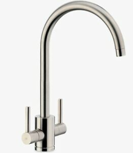 John Lewis & Partners Urbana 2 Lever Kitchen Mixer Tap - Brushed Nickel