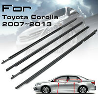 For Toyota Corolla 2007~2013 4Pcs Weatherstrip Window Moulding Trim Seal Belt
