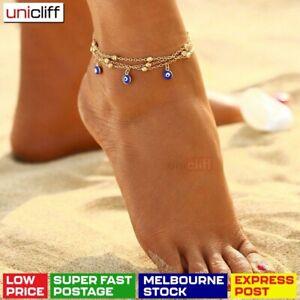 Evil Eye Anklet Women Girl 18k Gold Charm Barefoot Greek Turkish Protect Chain