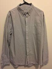Mens JCP Gray Striped Button Up Shirt XL