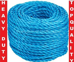 Blue Poly Rope Strong 4/6/8/10/12/14mm Builder Polypropylene Nylon Braided Cord