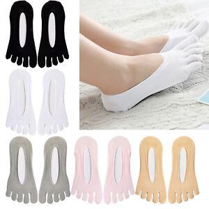 Women Five Finger Toe Socks Invisible Nonslip Ankle No Show Low Cut Socks