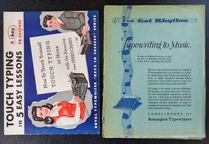 Typewriting to Music 1931 Remington+ Royal Typewriter TOUCH TYPING 1942 Booklets