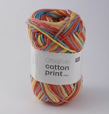 Rico Creative Cotton Aran Print Knitting & Crochet Yarn - Yellow Red Mix 013