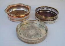 3 vintage antique silver on copper wine bottle coaster bar coasters