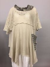 PRISA EUROPEAN PLUS ASYM COTTON HOLEY HOODED PULLOVER SWEATER BEIGE O/S DROP SLV
