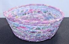 Handmade Coiled Fabric Bowl Sewn Cotton Fabric And Cord Multi-Color Unique