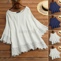 UK Women Holiday Blouse Hollow Out Tops Tee Shirt O Neck Baggy Casual Loose Lace