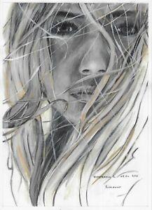 original painting 20 x 28 cm 150VL art Realism Oil dry brush female portrait