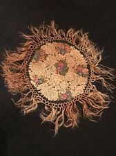 Antique 1900's Chinese Silk Embroidery Floral Doily Victorian Textile