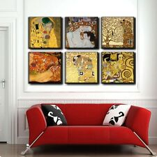 TIME4ART GUSTAV KLIMT CANVAS THE KISS PRINT GICLEE SET 6 PCS 12''x12'' inch