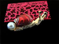 Enamel Charm Party Brooch Pin Gift Betsey Johnson Chic Cute Little Pearl Snail