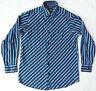 Psychedelic Black Blue Long Sleeve Button Down Shirt - Medium Mens M Cotton