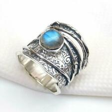Labradorite Solid 925 Sterling Silver Band Ring Statement Ring Size M449