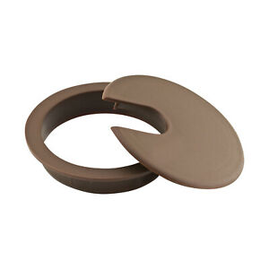 """5x (76MM) 3"""" Round Brown Computer Desk Table Port Wire Cable Hole Cover Grommet"""