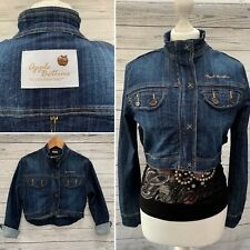Apple Bottoms Cropped Dark Denim Pleated Back Quirky Jean Jacket Size M 10 UK