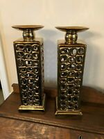 Pair of Large Tall Candleholders Gold Tone See Through Architectural Look 14""