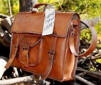 Leather messenger bag laptop bag Work computer shoulder bag for men & women
