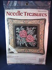 Needle Treasures Needlepoint MIDNIGHT ROSES Pillow 06621