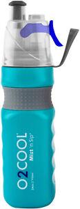 O2 COOL Power Flow Grip 24 oz Water Bottle & Mist N Sip Top Bike Hike Jog Camp