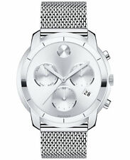 New Movado Bold Silver Dial Chronograph Mesh Steel Bracelet Men's Watch 3600371
