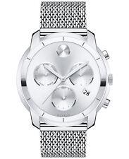 New Movado Bold Silver Dial Chronograph Mesh Steel Bracelet Men's Watch 3600371