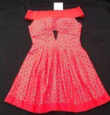 NWT Foxiedox New Ladies X Small UK 6 Red Sleeveless Lace Off Shoulder Mini Dress
