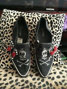 DRaven vegan flat pointy shoes. Skull girly-sz 7.5-Goth/Emo/Spychobilly/horror