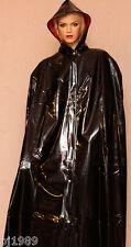 Cape Regencape Raincape Impermeable 100% PVC schwarz rot, dick Lack ähnlich