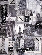 New York City Statue Liberty Cotton Fabric Kanvas Studio Renaissance Man -1.75Yd