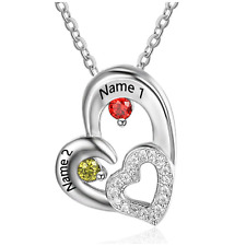 Abstract Hearts Birthstone & Name Pendant 925 Silver Gift Boxed Christmas Gift