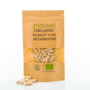 Organic Turkey Tail Mushroom HPMC Capsules Immune polysaccharides Vegan Kosher