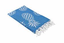 Blue and White Turkish Towel with Pineapple Print, Large Bath / Beach Peshtemal