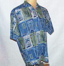 Tori Richard Blue Olive Palm Tree Hawaiian Hawaii Aloha Camp Cotton Lawn Shirt L