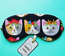 Eye Sleep Mask Cat printed Cotton Relax Travel Blackout Valentine  Gift UK Made