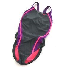 Speedo Powerflex Eco Women's Swimsuit One Pice Size 12 Racerback Gray Purple