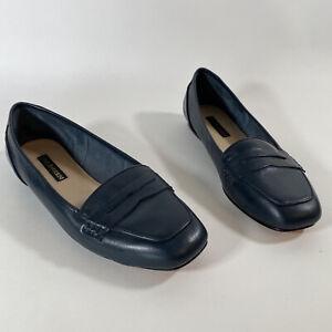 Vintage Studded Flat Shoes Womens Baby Blue Leather Loafers Slip On Shoes Sz 9.5M Made in Brazil