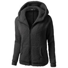 UK Women Winter Fluffy Cardigan Coat Jacket Hooded Sweater Jumper Top Size 10-24