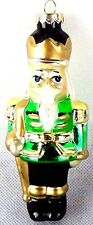 NEW! Nutcracker Handcrafted Blown Glass Green Christmas Tree Ornaments Decorate~