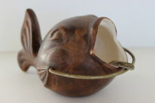 Vintage Brown Ceramic Fish Whale Shaped Ashtray Open Mouth Gold Tone Metal Rest