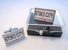 Stoke City Number Plate Style Badge Mens Cufflinks Cuff Links Gift