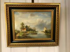 Antique 19th century Dutch school oil painting, of village life. Signed